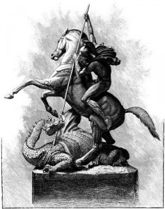 St.-George-and-the-Dragon-statue-etching