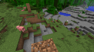 My house in Creepertown (the dirt box, upper left) with companion creeper craters.
