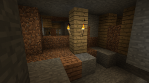 Trying to control the mineshaft with dirt blocks; creeper got me anyway.